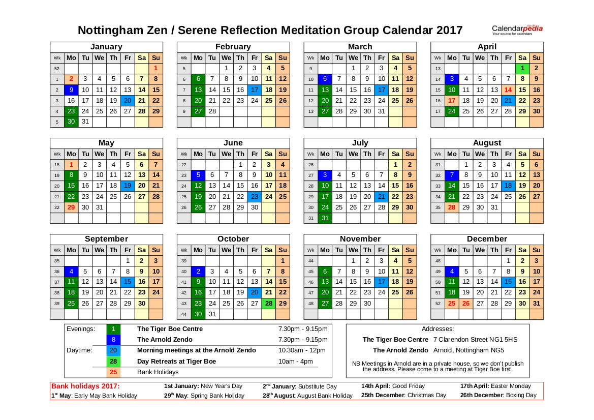 Nottingham Zen Group Calendar 2017