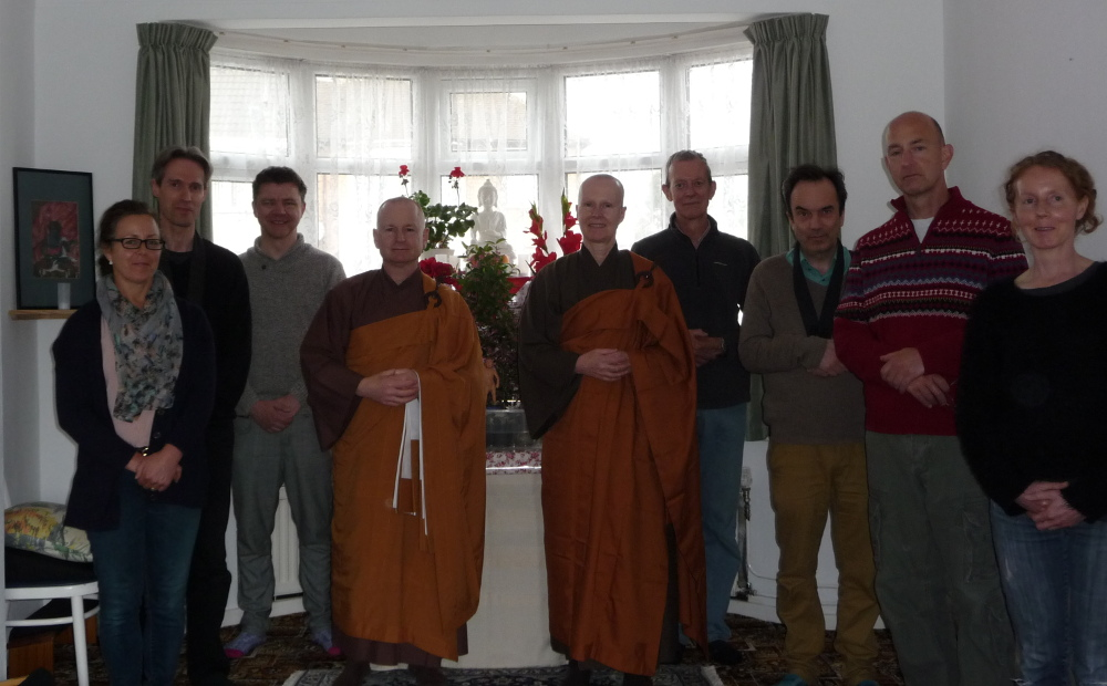 Rev. Aiden, Rev. Alicia and Sangha members from the East Midlands