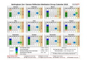 Nottingham Zen Group Calendar 2018