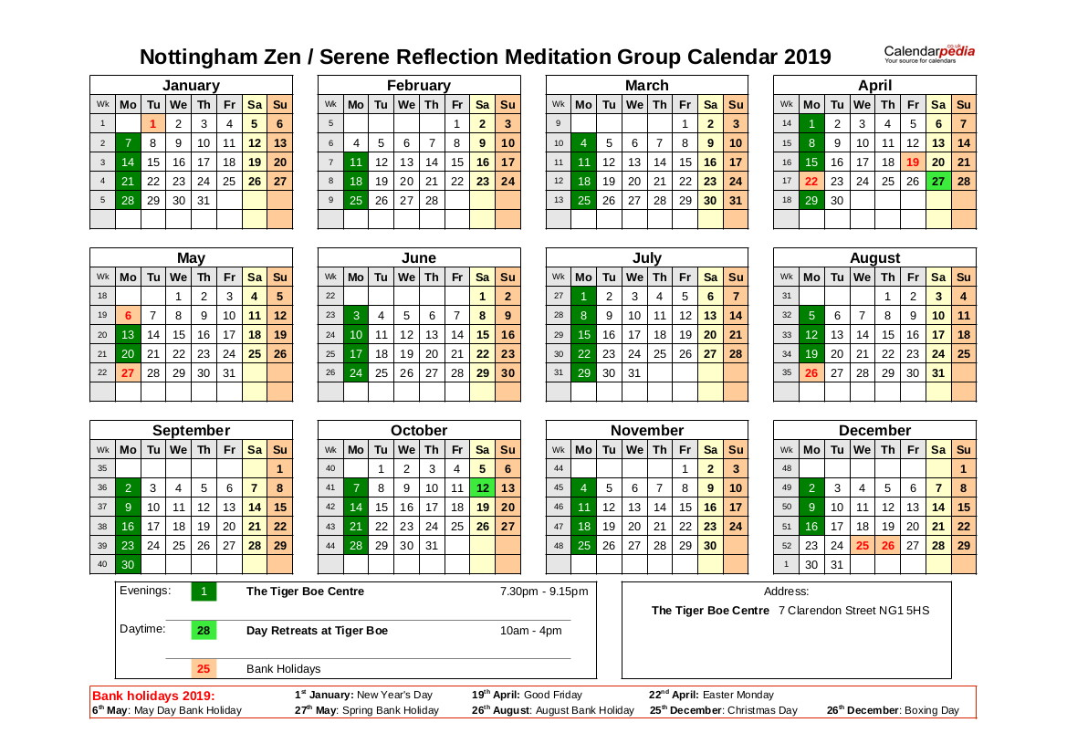 Nottingham Zen Group Calendar 2019
