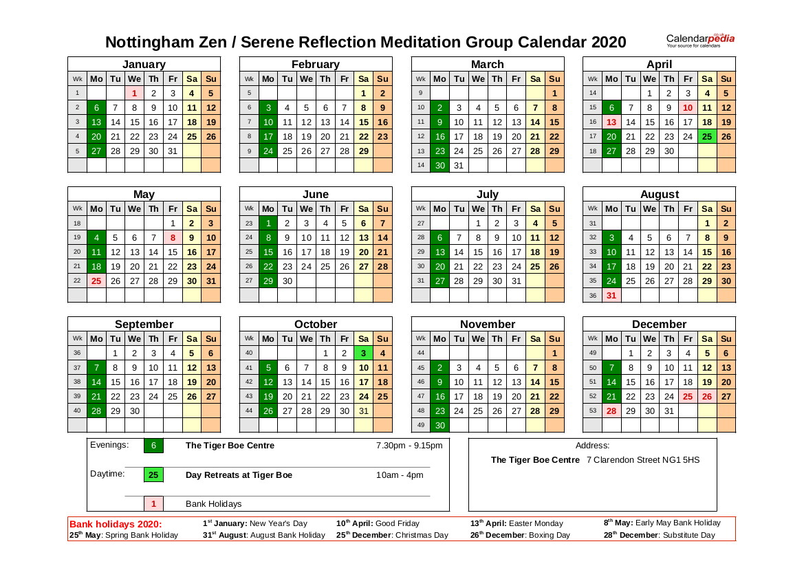 Nottingham Zen Group Calendar 2020
