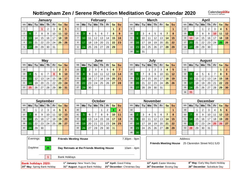 Nottingham Group Calendar 2020